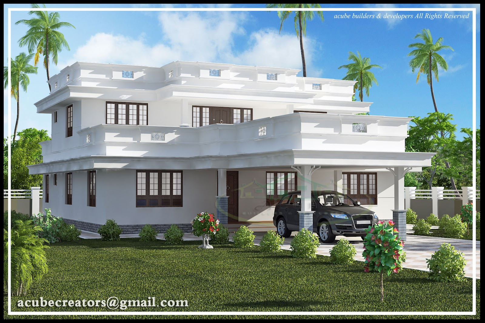 Flat roof home design 2991 sq ft plan 137 for Flat roof elevation