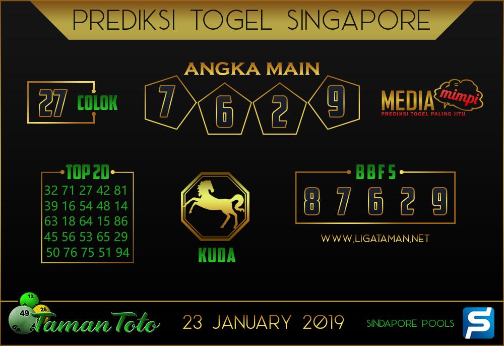 Prediksi Togel SINGAPORE TAMAN TOTO 23 JANUARI 2019