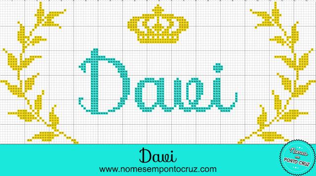 Nome Davi em Ponto Cruz com coroa