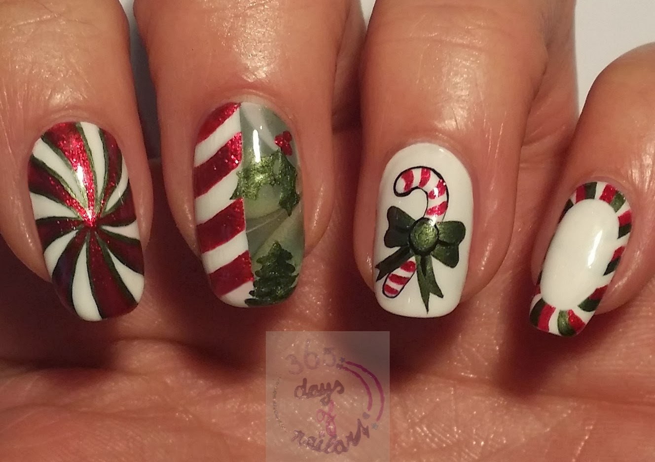 Candy Cane Stripes 3d Christmas Tree Nail Art: 365+ Days Of Nail Art: Day 339) Candy Stripe Nail Art