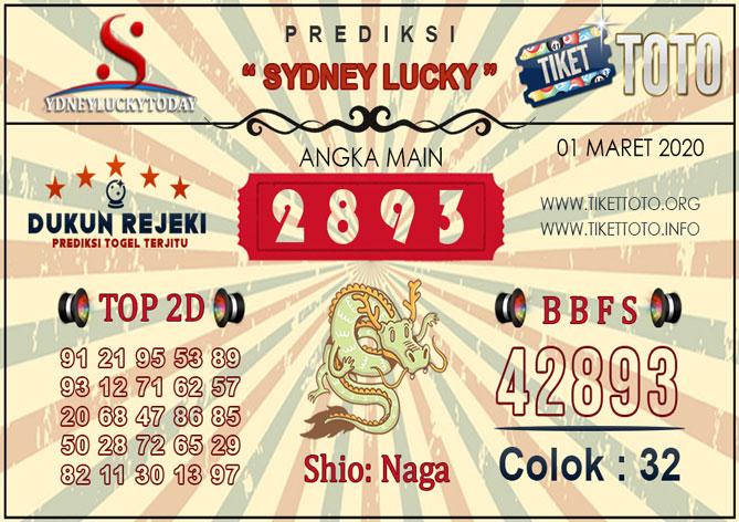 Prediksi Togel SYDNEY LUCKY TIKETTOTO 01 MARET 2020
