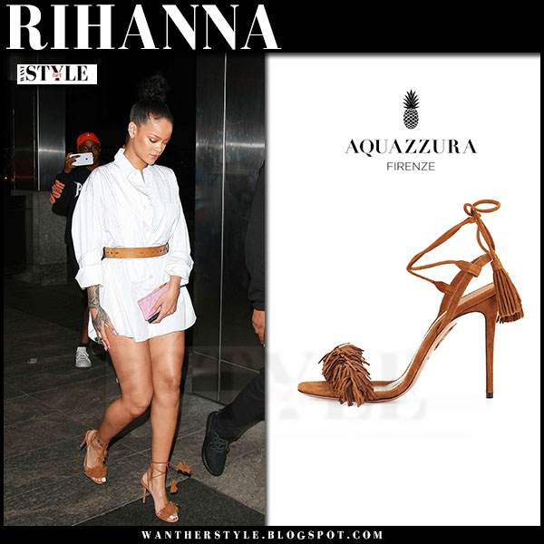 Rihanna in brown suede Aquazzura wild thing sandals what she wore