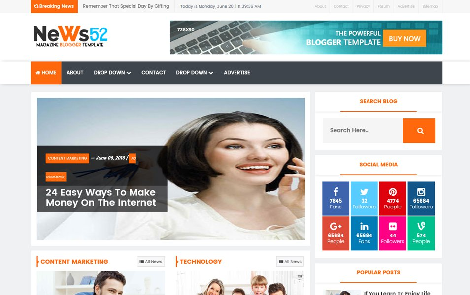 News52 Responsive Blogger Template
