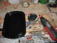 Mason jar, water bath, rotary tool
