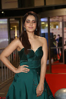 Raashi Khanna in Dark Green Sleeveless Strapless Deep neck Gown at 64th Jio Filmfare Awards South ~  Exclusive 086.JPG