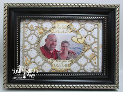 ODBD Happily Ever After, ODBD Custom Scalloped Chain Die, ODBD Custom Ornate Ovals Dies, ODBD Custom Ovals Dies, Framed Art Designed by Angie Crockett