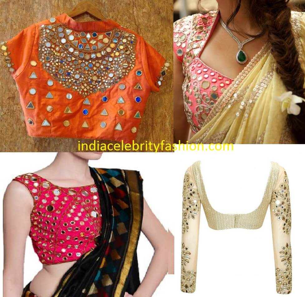 Lehenga blouse design in golden color and mirror work - Lehenga Blouse Design In Golden Color And Mirror Work 43