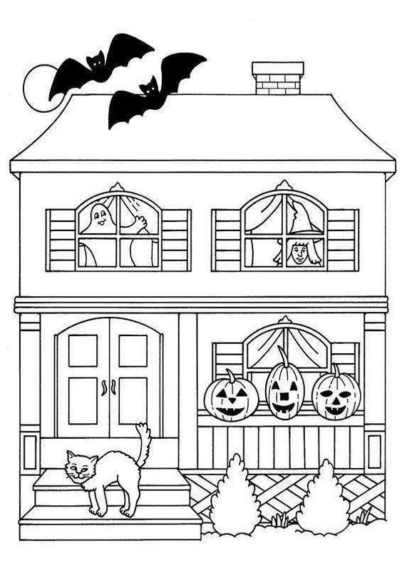 Tranh tô màu ngôi nhà Halloween dễ thương