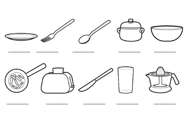 Maestra indira adames actividades de la semana del 19707 for Utensilios de cocina imagenes para imprimir