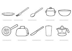 colorear cocina utensilios dibujos imprimir geschirr ausmalen zum plato actividades nombres nombre dibujo pintar escribe sobre cocineros ausdrucken ausmalbild ihr