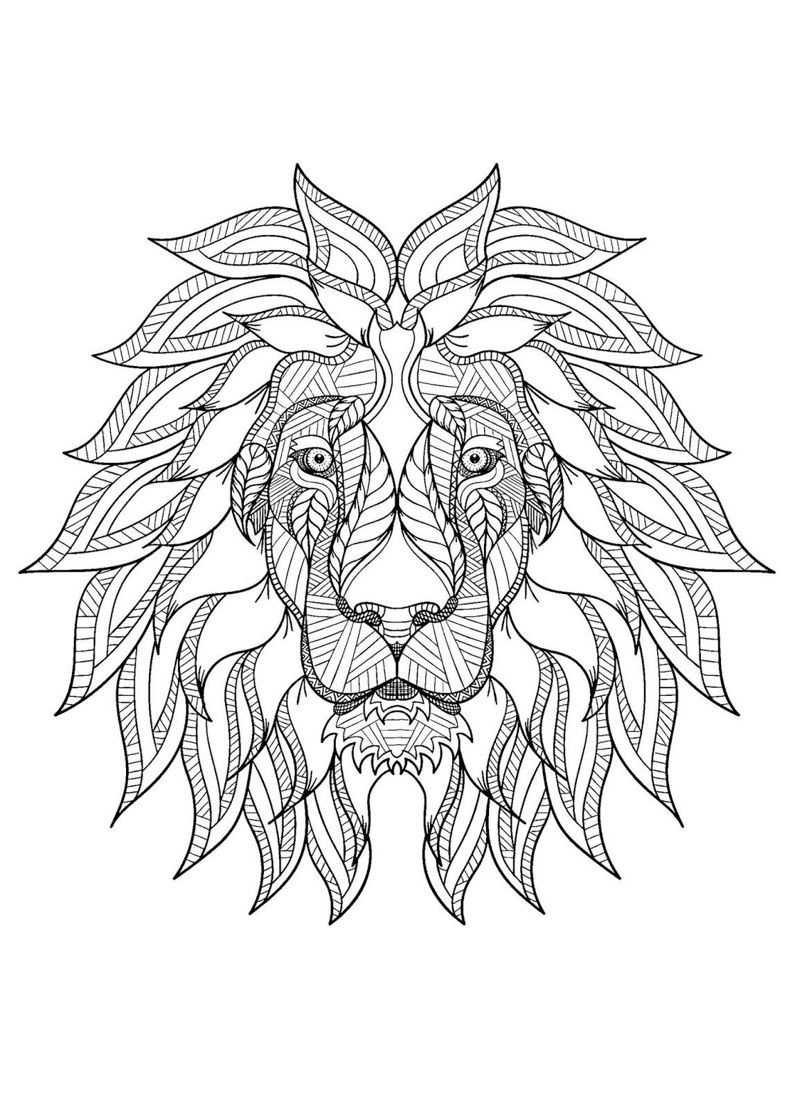 Tranh tô màu đầu con sư tử
