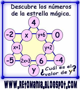 Retos matemáticos, Problemas matemáticos, Desafíos matemáticos, Jugando con números, Acertijos numéricos, Problemas de lógica, Estrella mágica, Sistemas de Ecuaciones