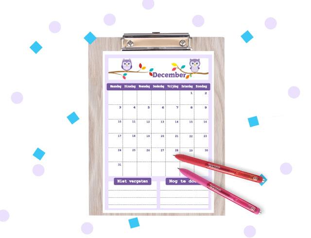 kalender in uiltjes thema, kalender om te printen