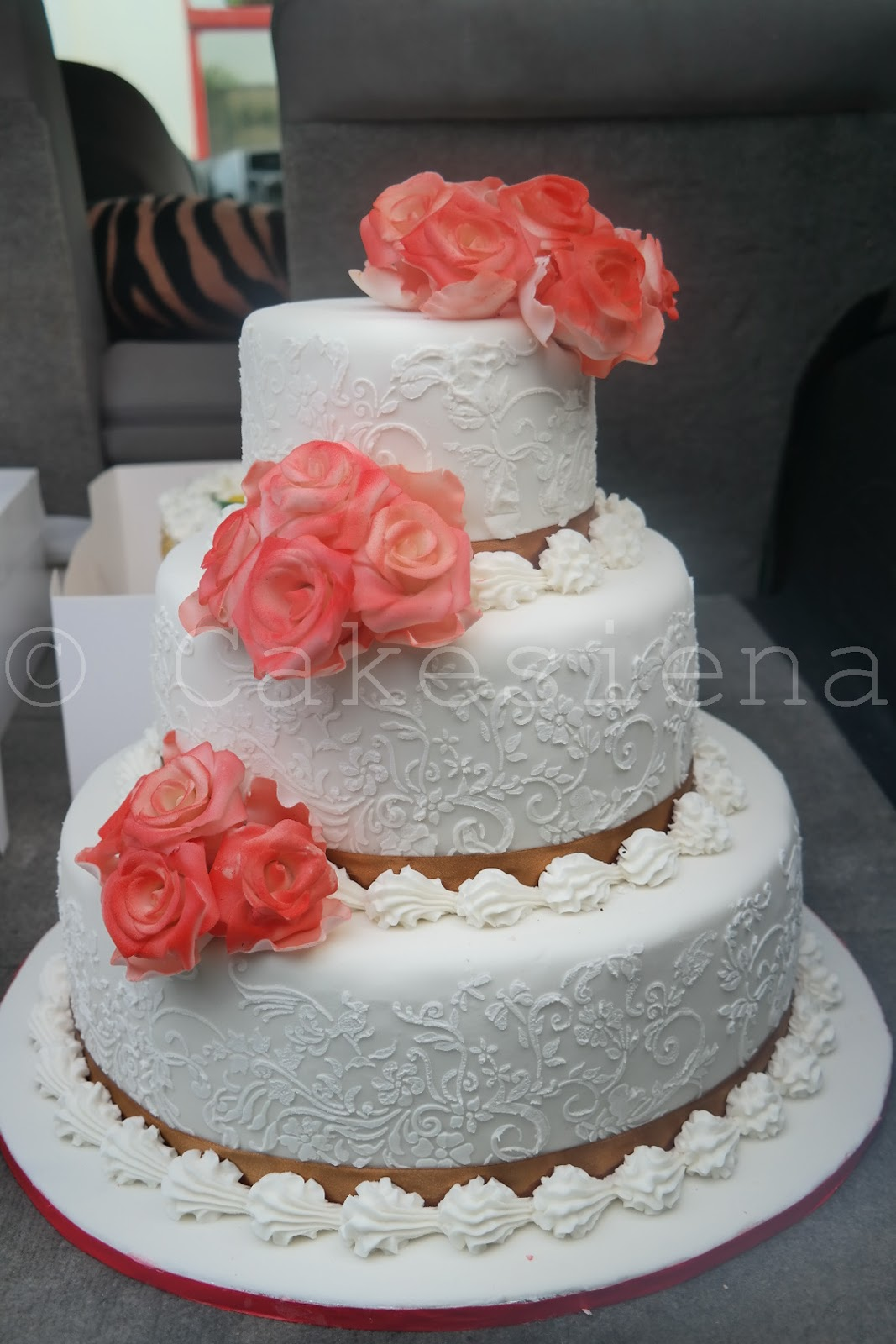 Cake Factory Peach Flowers Wedding Cake