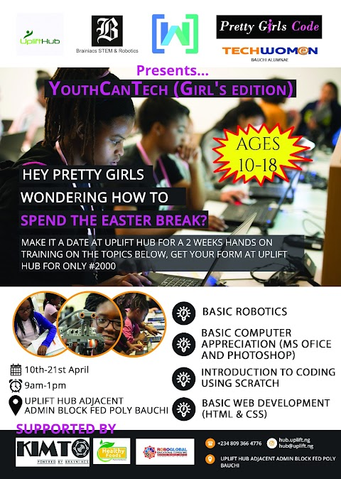 GIRLS IN BAUCHI SET TO LEARN CODING AND ROBOTICS AT THE YOUTHCANTECH DIGITAL LITERACY PROGRAM, POWERED BY TECHWOMEN, UPLIFT HUB, WOMEN TECHMAKERS AND BRAINIACS STEM & ROBOTICS