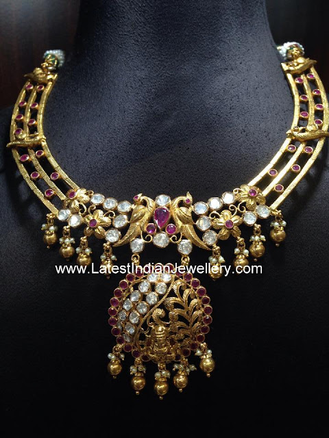 Dull Gold Fancy Ruby Necklace