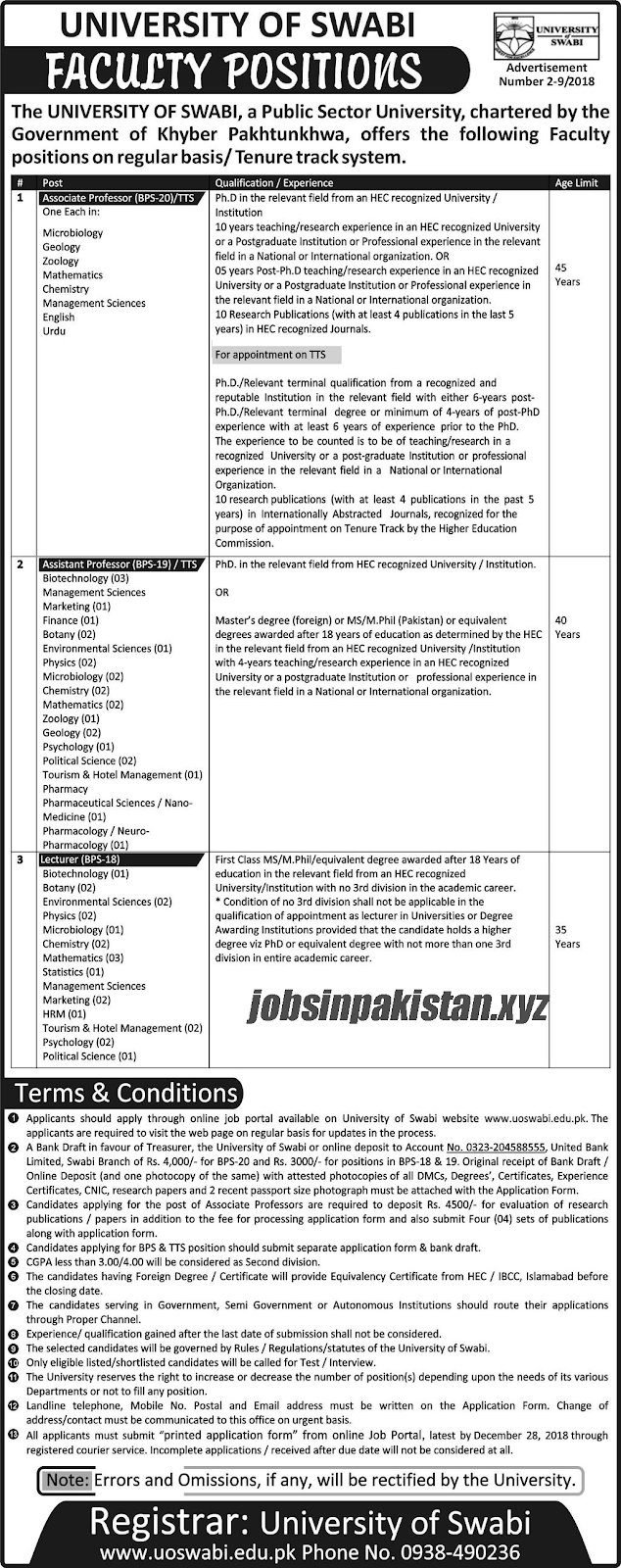 Advertisement for University of Swabi Jobs