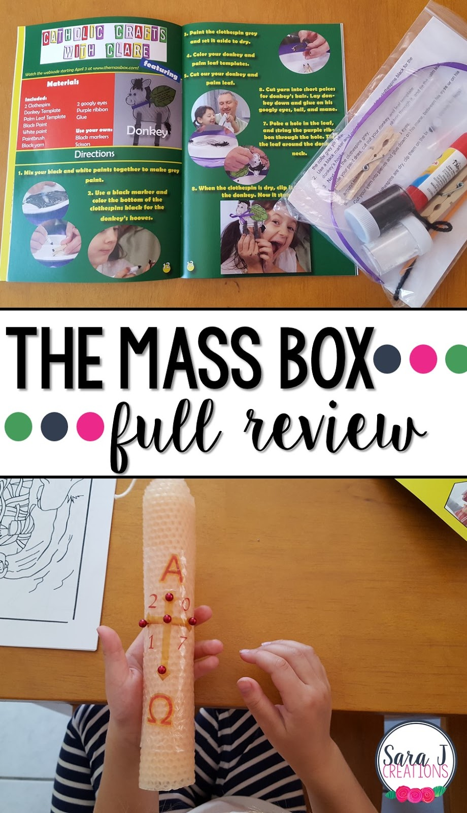 An honest review and giveaway of The Mass Box which provides a monthly subscription box for families that includes crafts that go along with the Sunday readings used during the Catholic Mass
