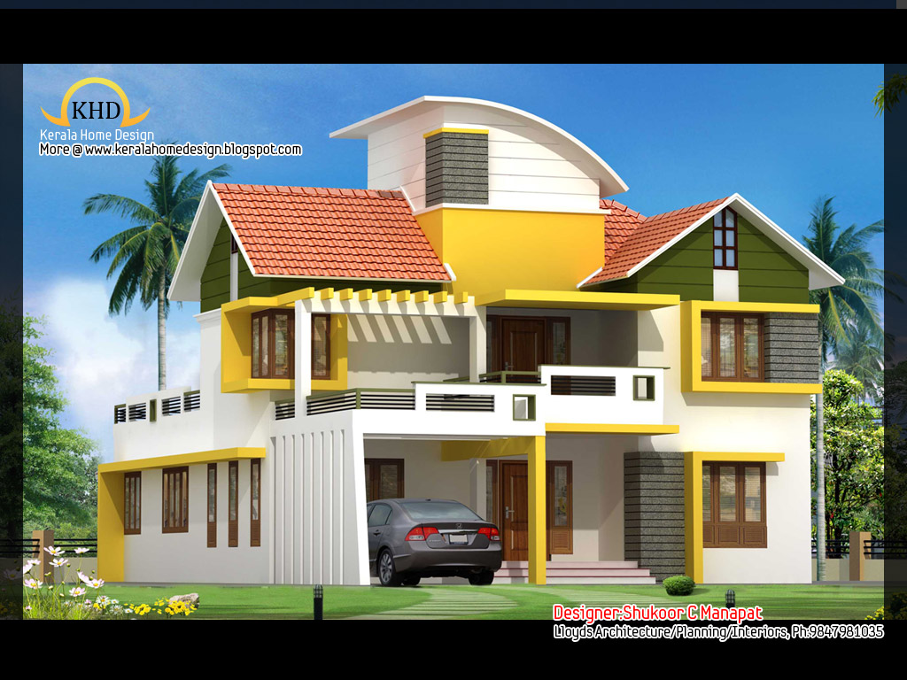 2563 sq ft contemporary and kerala style architecture for Contemporary home elevations