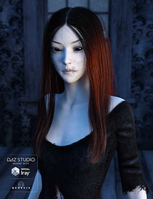 Sorrow Hair for Genesis 3 Female