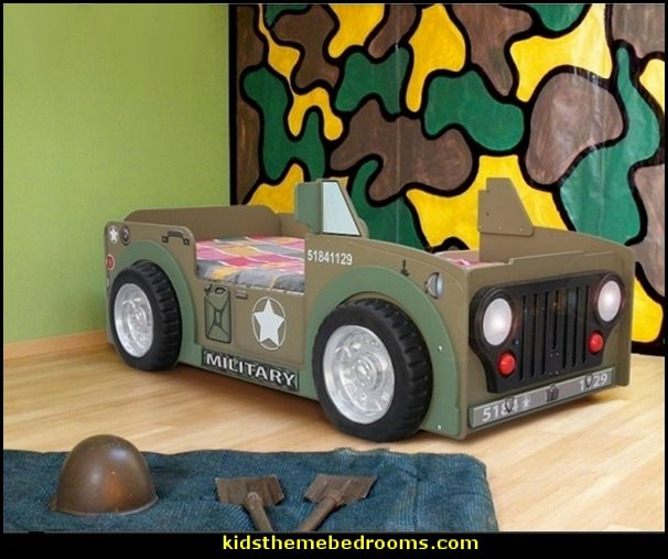 Military Toddler Car bed   Army bedroom ideas - Army Room Decor - camouflage decorating - army bedroom accessories - Military bedrooms  - army jungle man cave -  boys army bedroom ideas - girls camo decor - Military Soldier bedrooms - military aircraft bedroom decorating ideas - Navy themed decorating -  army rooms camo themed - Airforce planes bedrooms - army tank wall decals - chopper decals -