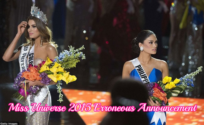 Miss Universe 2015 Erroneous Announcement