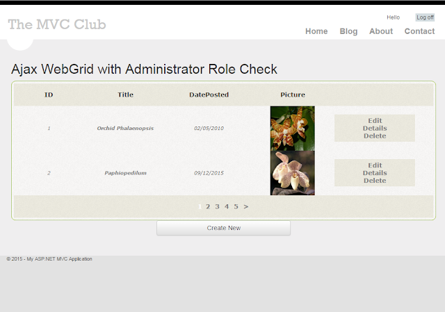 MVC Ajax WebGrid with Administrator Buttons