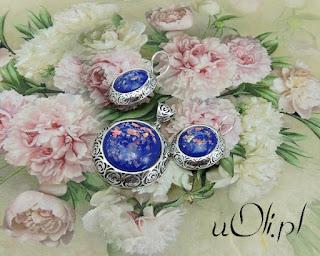 Ogromne szafirowe opale w różanym srebrze