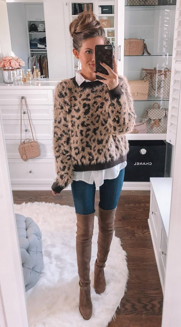 pretty cool outfit / leopard sweater + white shirt + skinnies + over knee boots
