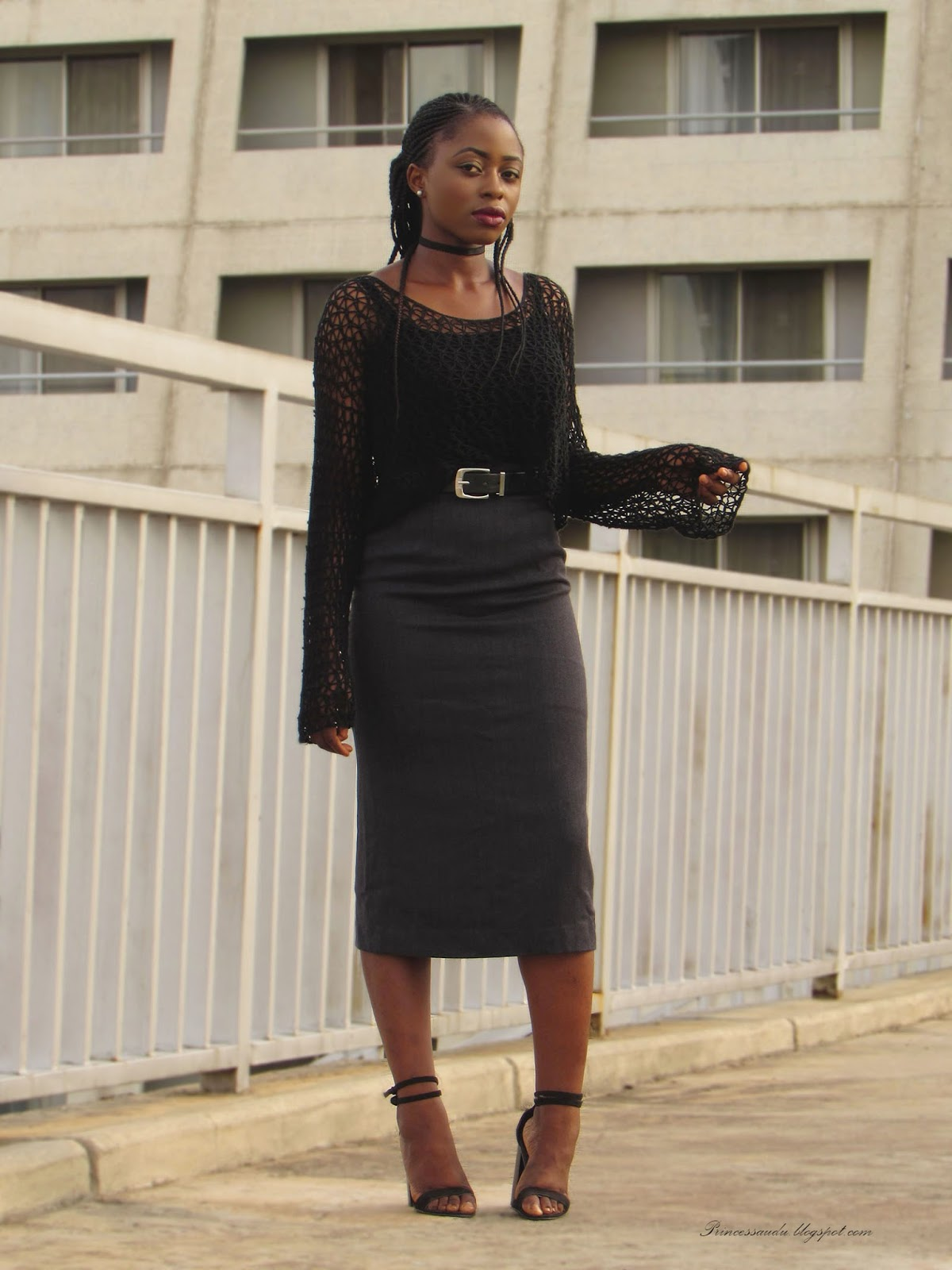 Body-con skirt, grey pencil midi skirt, black knitwear top, choker, buckle belt