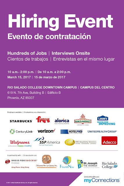 Poster for job fair featuring logos of sponsors and participating employers.  Text in English and Spanish: Hiring Event. Hundreds of Jobs.  Interviews onsite.  See blog for remaining details.