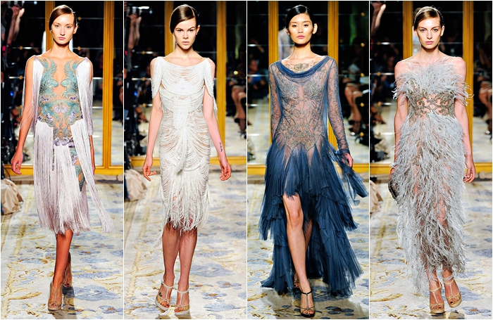 Marchesa spring 2012 collection fringe dresses