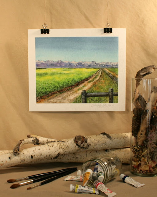 Lush Fields of Teton County Giclee Print of the original watercolor painting by Christy Sheeler Artist