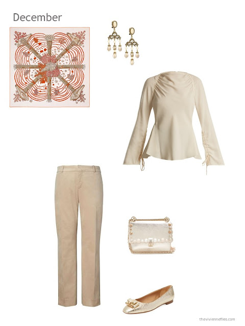 a beige blouse and beige velvet pants