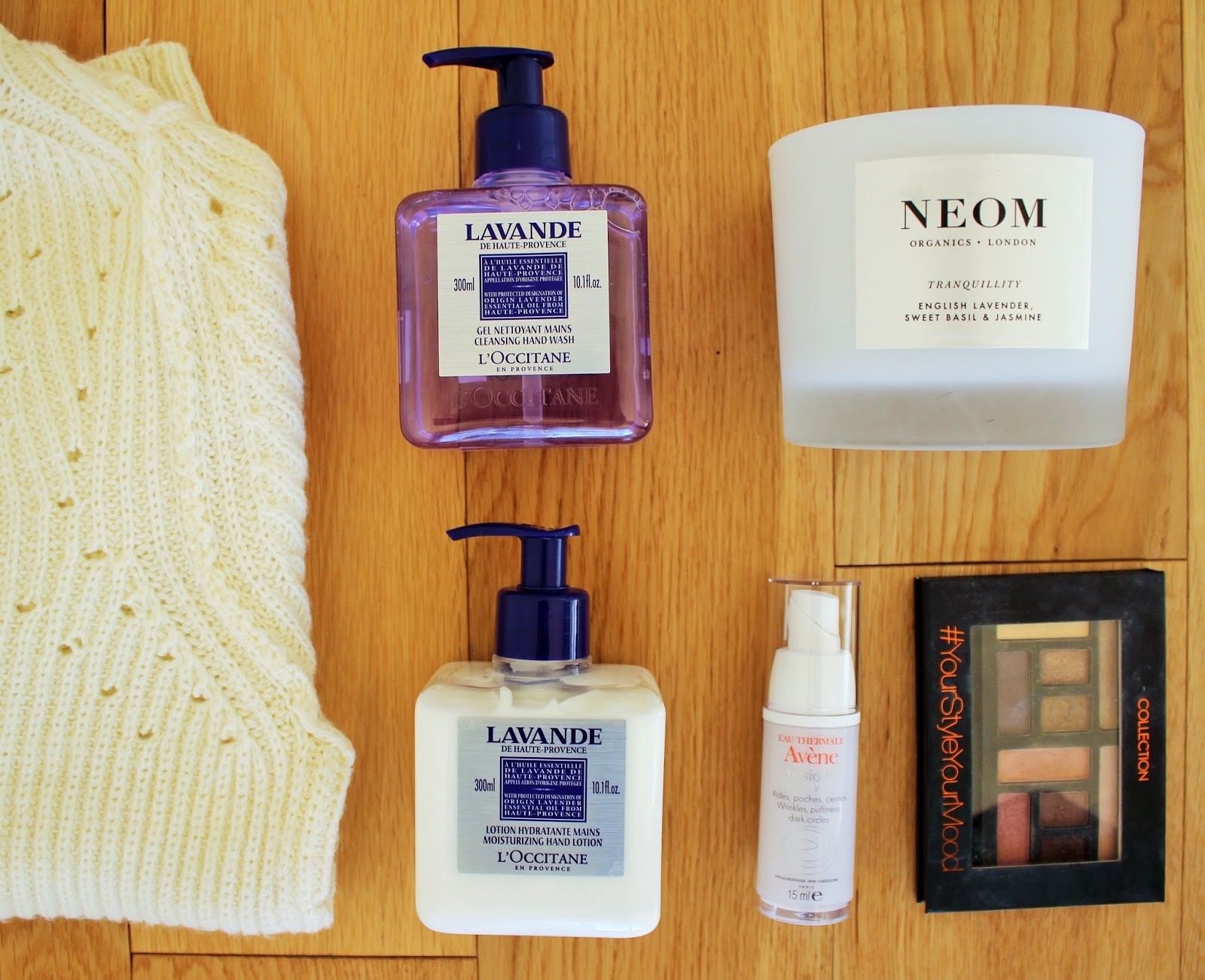 February Favourites - Topshop Jumper, Neom Candle, L'Occitane Hand Wash and Hand Cream, Collection Eyeshadow Palette, Avene Eye Cream