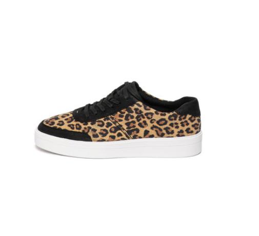 Pantofi sport femei de piele intoarsa de piele nabuc cu leopard print