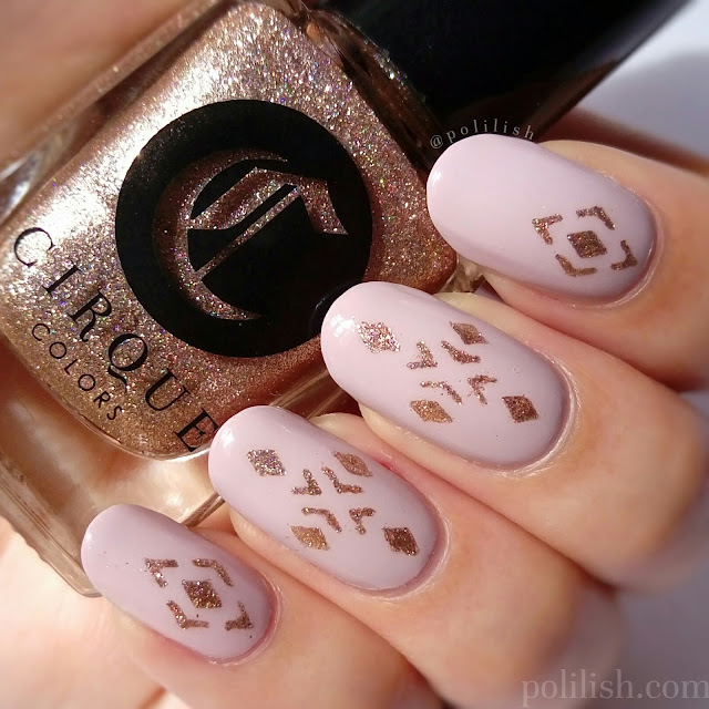 Geometric pink and gold nails using stencils by Born Pretty Store