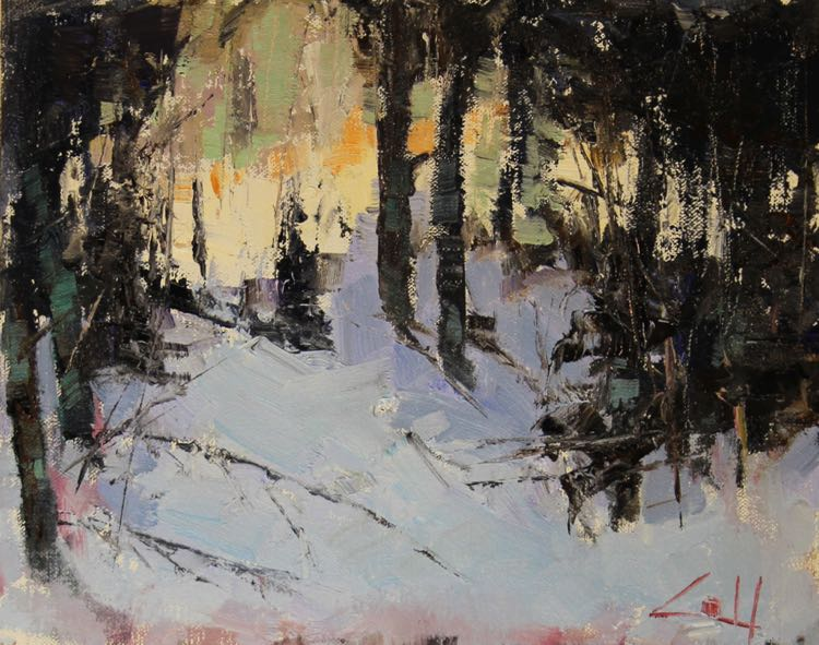 George Coll Daily Painter Snowy Woods 8x10 H0212