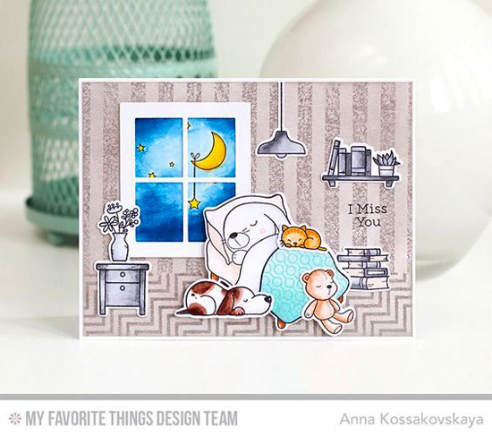 Handmade card from Anna Kossakovskaya featuring Somebunny I Love and Birdie Brown Our Story stamp sets and Die-namics, Diagonal Chevron Background, Lined Up Dots Background, and Distressed Stripes Background stamps, Classic Window Die-namics #mftstamps