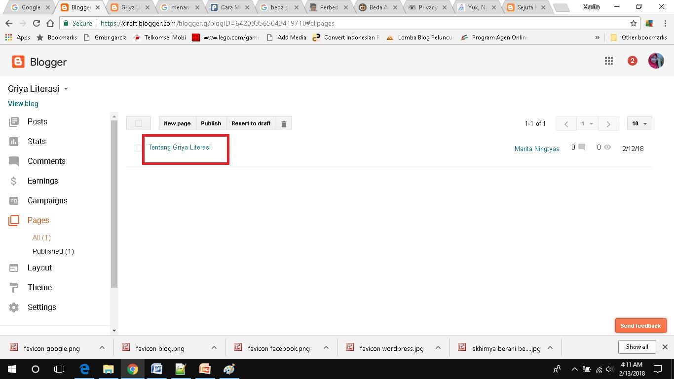 cara membuat dan menampilkan page di blogspot copy link