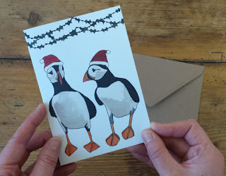 Puffins Christmas Card by Alice Draws The Line