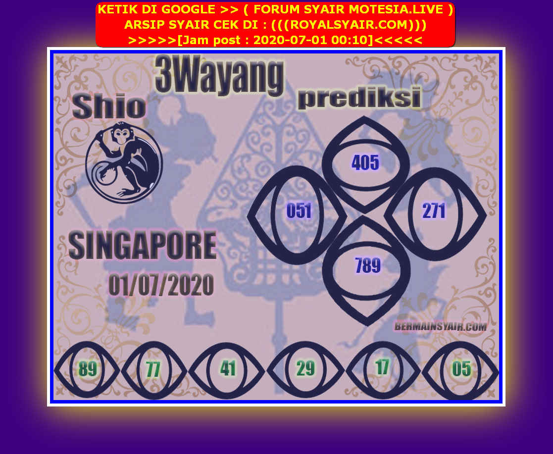 Kode syair Singapore Rabu 1 Juli 2020 215