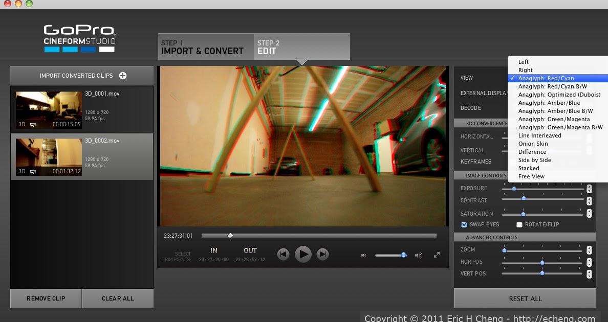 Imagen 3d Gopro Cineform Studio