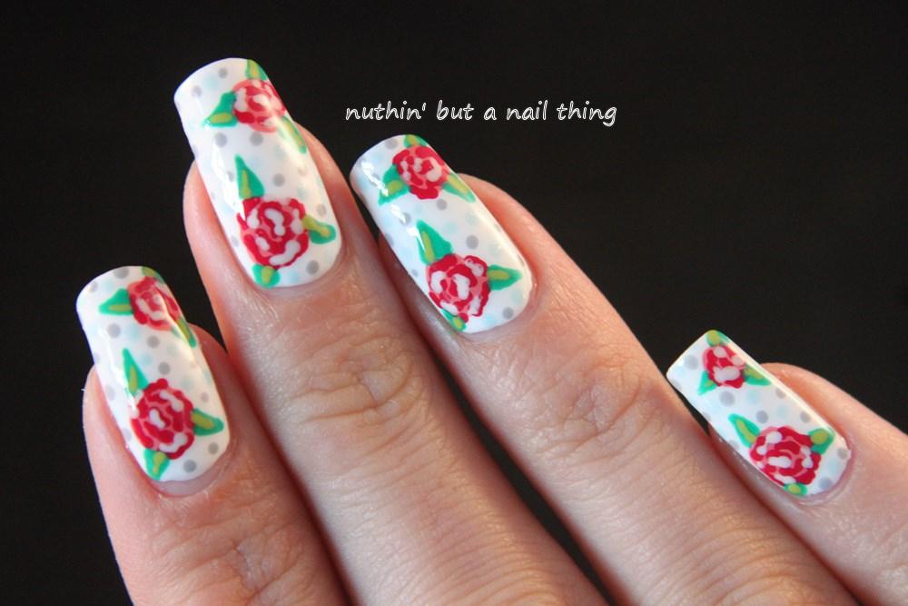 vintage style nail art design