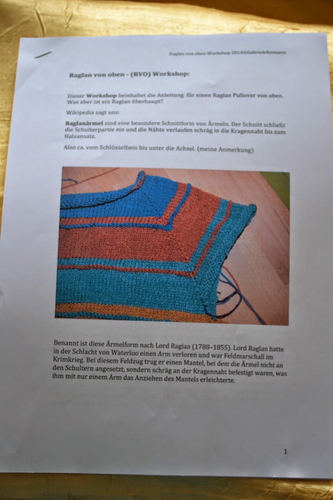 Tinas Woll Und Perlenecke Raglan Von Oben Rvo