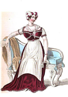 Evening dress   from La Belle Assemblée (Mar 1812)