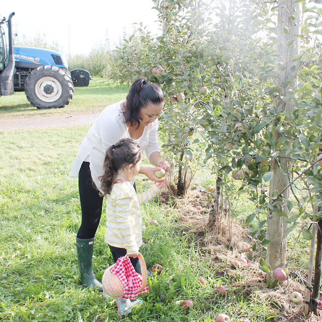 mom and daughter apple picking