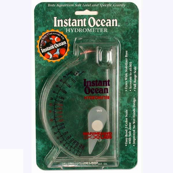 instant ocean hydrometer. a box hydrometer is plastic device with swing arm in it. when the filled saltwater, rises to certain point, depending on instant ocean