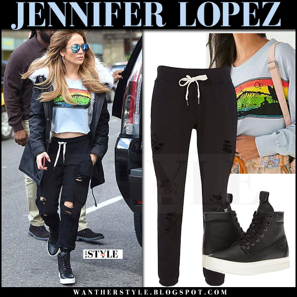 Jennifer Lopez in cropped grey top and ripped black sweatpants nsf what she wore may 6 2017