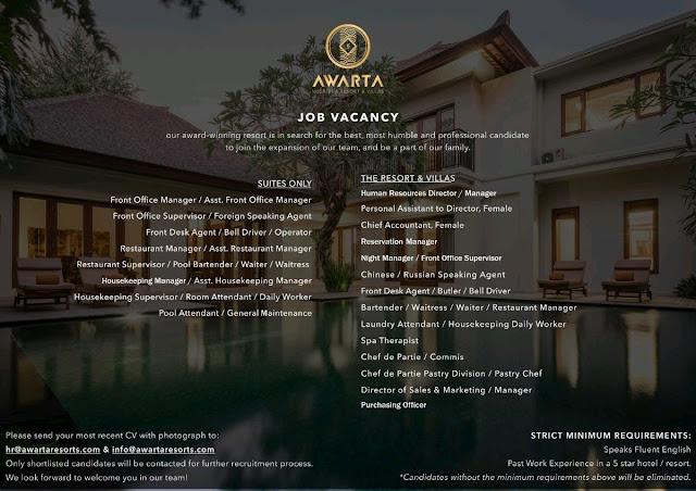Lowongan kerja Awarta Resort and Villas 2018